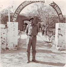 Lt. Col. Hari Singh of the India's 18th Cavalry posing outside a captured Pakistani police station (Barkee) in Lahore District.